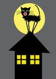 Zwarte kat op de bovenkant van het dak vector illustratie