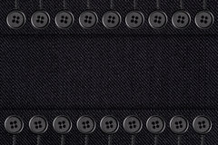 Zwarte katoenen textuur met knopen Stock Foto