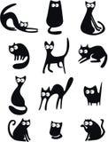Zwarte kattensilhouetten Stock Afbeelding