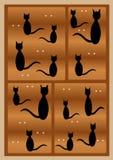 Zwarte kattensilhouetten Royalty-vrije Stock Foto