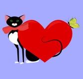 Zwarte kattenvalentijnskaart royalty-vrije illustratie