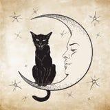 Zwarte kattenzitting op de maan Vector van de Wiccan de vertrouwde geest Stock Foto