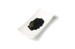 Zwarte kaviaar en dille Stock Foto