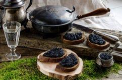 Zwarte kaviaar en wodka Uitstekende stijl Royalty-vrije Stock Fotografie