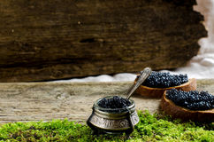 Zwarte kaviaar in kroonlijst Plaats voor tekst Royalty-vrije Stock Foto