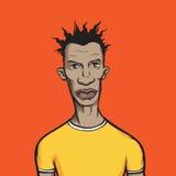 Zwarte kerel in gele t-shirt Royalty-vrije Stock Foto