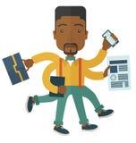 Zwarte kerel met multitasking baan Stock Afbeeldingen