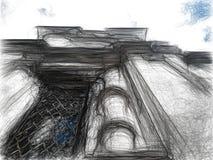 Zwarte kleurpotlood/potloodtekening van orthodoxe kathedraal Stock Afbeeldingen
