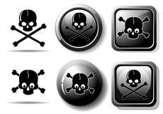 Zwarte knopen met schedelteken stock illustratie