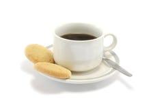 Zwarte Koffie en Koekjes Royalty-vrije Stock Foto's