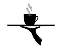 Zwarte Koffie op Dienblad stock illustratie