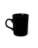 Zwarte koffiekop met het knippen van het embleem van het wegsymbool Royalty-vrije Stock Afbeelding