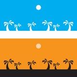Zwarte kokospalm op oranje achtergrond en witte kokospalm op blauwe achtergrond, silhouet Royalty-vrije Stock Afbeelding