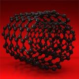 Zwarte koolstof nanotubes op rode achtergrond Stock Afbeelding