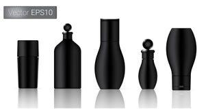 Zwarte Kosmetische Flessen Geplaatst Achtergrondillustratie Stock Foto's