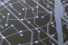 Zwarte Kringsraad met Blauwe verbindingsverbindingen Stock Fotografie