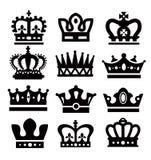 Zwarte kronen Royalty-vrije Stock Afbeeldingen