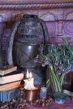 Zwarte kunstwerktijden Wiccanwerktijden en kruiden stock afbeeldingen
