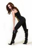 Zwarte laarzen Stock Foto's