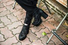 Zwarte Laarzen Royalty-vrije Stock Afbeeldingen
