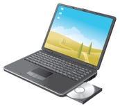 Zwarte laptop met CD open dienblad royalty-vrije illustratie