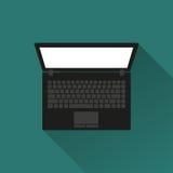 Zwarte laptop met een lange schaduw Mening van hierboven vector illustratie