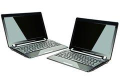 Zwarte laptops Stock Afbeelding