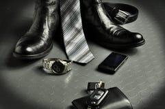 Zwarte leer elegante stijl Royalty-vrije Stock Foto