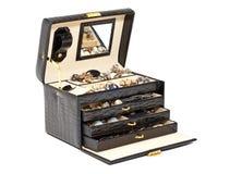 Zwarte leerdoos voor schoonheidsmiddel of jewelery stock foto's