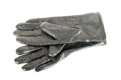 Zwarte leerhandschoenen Stock Fotografie