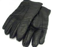 Zwarte leerhandschoenen Royalty-vrije Stock Afbeelding