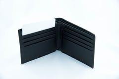 Zwarte leerportefeuille met een kaart Royalty-vrije Stock Foto