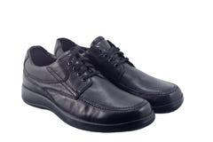 Zwarte leerschoenen Stock Foto's