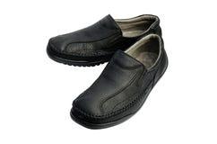 Zwarte leerschoenen Stock Foto