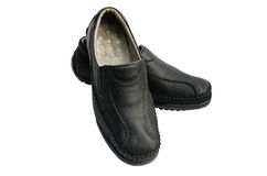 Zwarte leerschoenen Stock Afbeelding