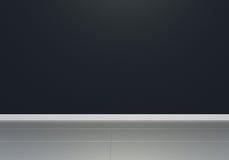 zwarte lege binnenlandse ruimte, vooraanzicht, glanzende vloer Stock Fotografie