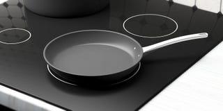 Zwarte lege pan op ceramische haardplaat 3D Illustratie Stock Illustratie