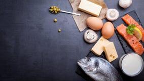 Zwarte leilijst met productrijken in vitamine D stock foto
