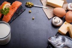 Zwarte leilijst met productrijken in vitamine D stock fotografie