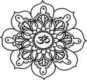 Zwarte lijn bloemen Indische mandala, hand getrokken illustratie Royalty-vrije Stock Afbeeldingen