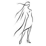 Zwarte lijnvrouw in wind Royalty-vrije Stock Afbeelding