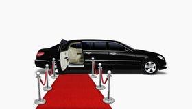 Zwarte limo en rood tapijt Royalty-vrije Stock Afbeeldingen