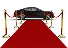 Zwarte limo en rood tapijt Stock Foto