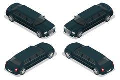 Zwarte limousine VIP auto Vector vlakke 3d isometrische illustratie Limousinepictogram, teken Modern eenvoudig ontwerp, vlakke st Stock Foto's