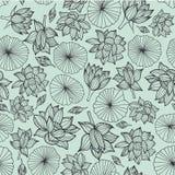 Zwarte lineart waterlilies of de lotusbloem bloeien en verlaten naadloze patroontextuur als achtergrond op pastelkleur blauwe ach vector illustratie