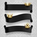 Zwarte linten met gouden kronen royalty-vrije illustratie