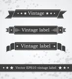 Zwarte linten met retro wijnoogst gestileerd ontwerp Royalty-vrije Stock Foto