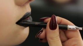 Zwarte Lippenstiftmake-up stock videobeelden