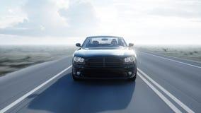 Zwarte luxeauto op weg, weg Daglicht Zeer snel drijvend het 3d teruggeven Royalty-vrije Stock Foto