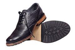 Zwarte man schoenen Stock Foto
